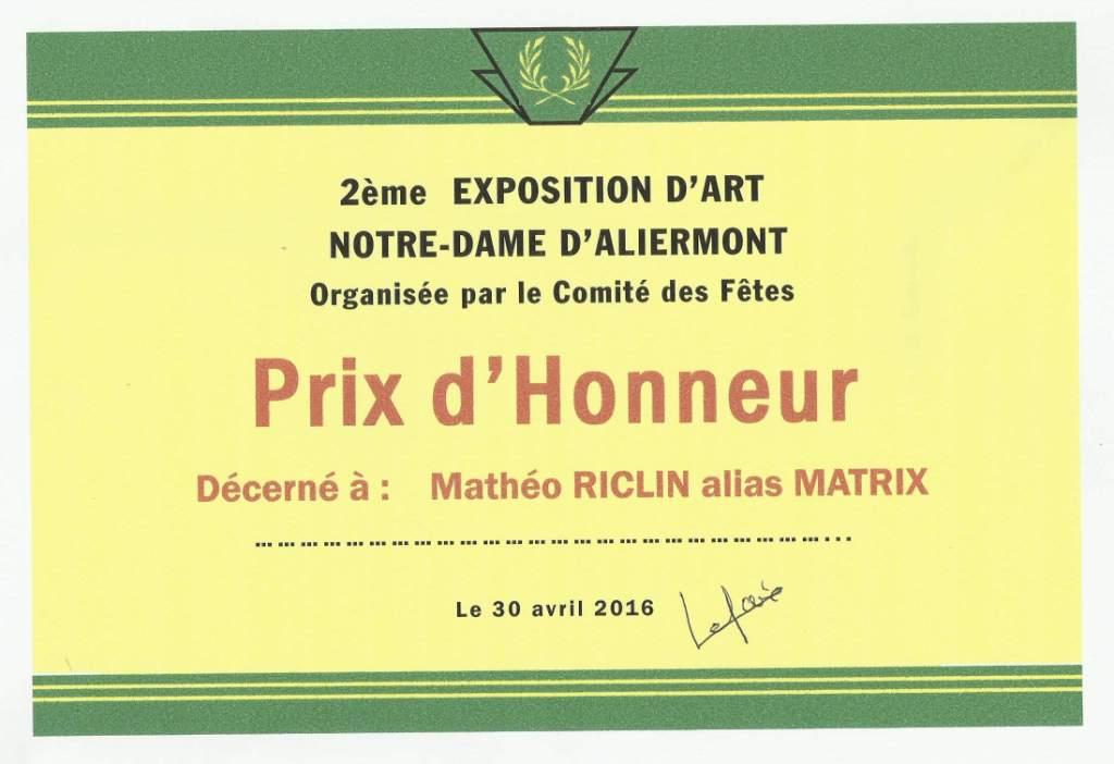 Diplome invite honneur