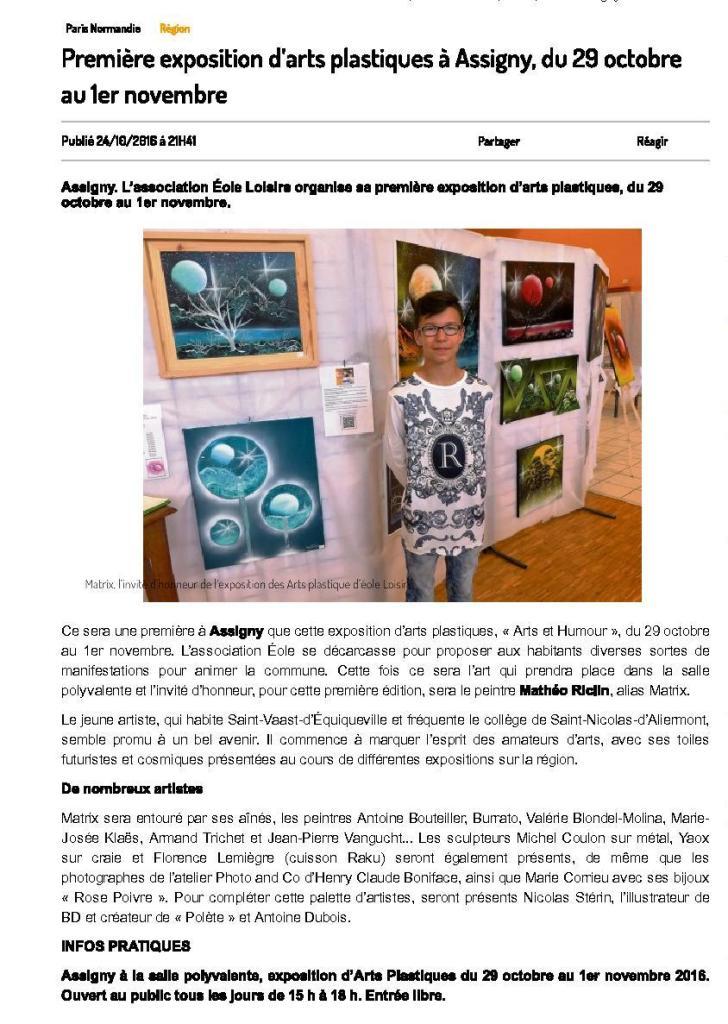 Premiere exposition d arts plastiques a assigny du 29 octobre au 1er novembre